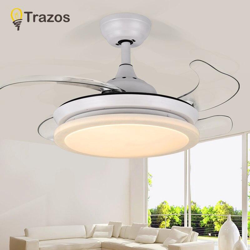 LED Modern White 220v 24w power DC Ceiling Fans With Lights Remote Control Bedroom Home Fan Lamp ventilador de teto prestigio