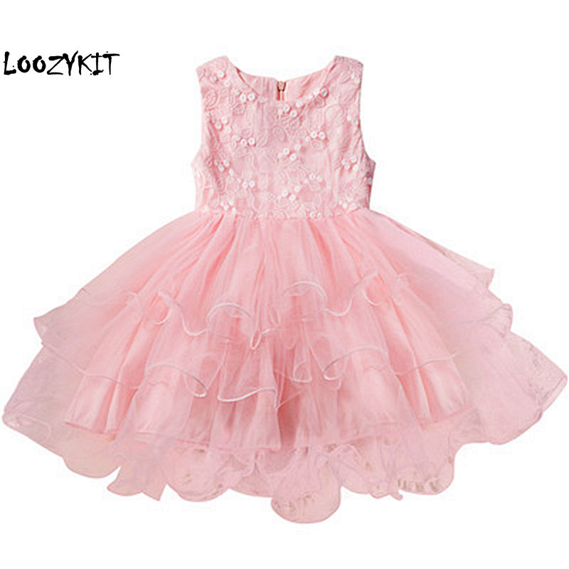 Loozykit Summer Princess   Dress   for Children   Flower     Girls     Dress   Tutu Party Wedding   Dress   Elegent Princess Vestidos