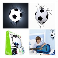 Hot Sell Sports Series 2014 Brazil World Cup Football 3D Wall Lamp Amazing Room Decoration Light