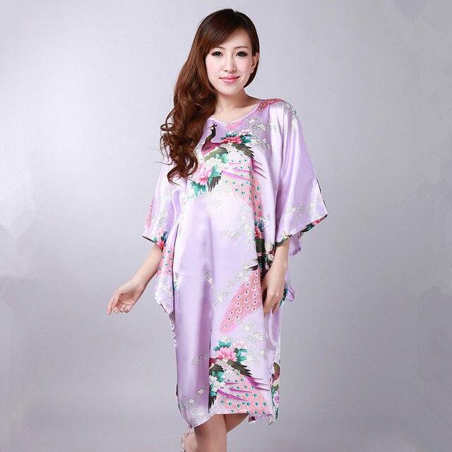 Hot New Black Chinese Women Summer Silk Sleepwear Sexy Mini Robe Dress Printed Kaftan Bath Night Gown Flower One size RB058