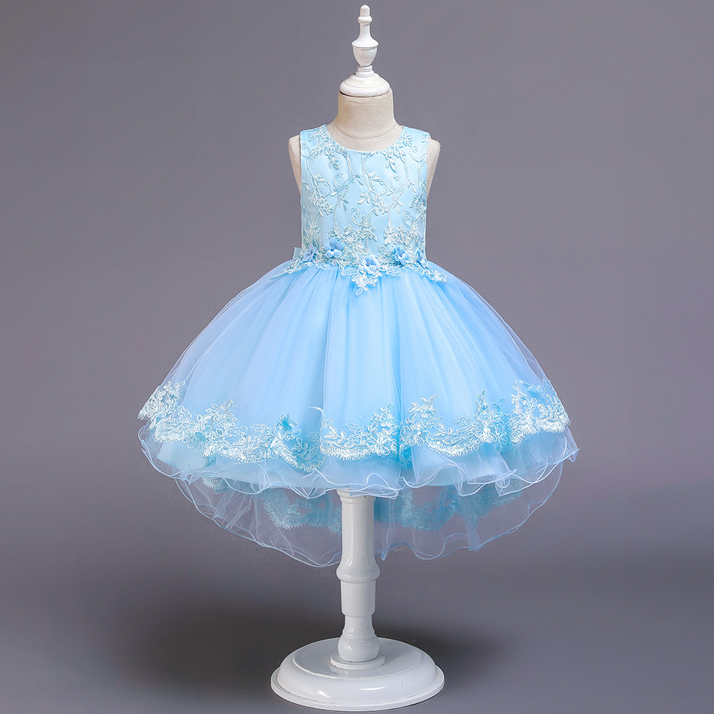 Fancy Lace Pageant Formal Evening Wedding Gown Tutu Princess Dress Flower Girls Children Clothing Kids Party For Girl Clothes in Dresses from Mother Kids