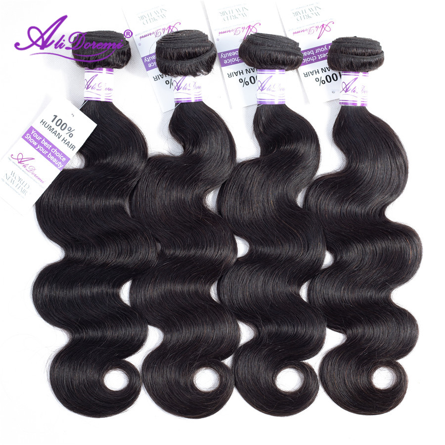 Alidoremi Brazilian Body Wave Hair 4 Pcs Human Hair Bundles Non Remy Hair Extention Natural Color 1B Free Shipping(China)