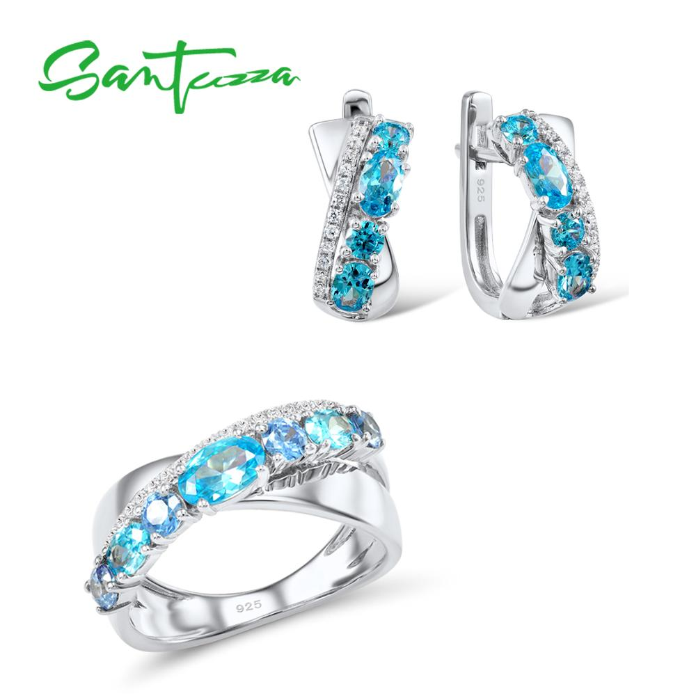 SANTUZZA Jewelry Sets For Women Blue Spinels White CZ Stones Jewelry Set Ring Stud Earrings Set