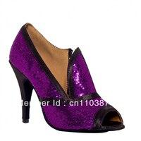 Ladies Sexy Purple Glitter Ballroom Shoes Dance Shoes Latin SALSA Shoes Ceroc Shoes Tango Shoes