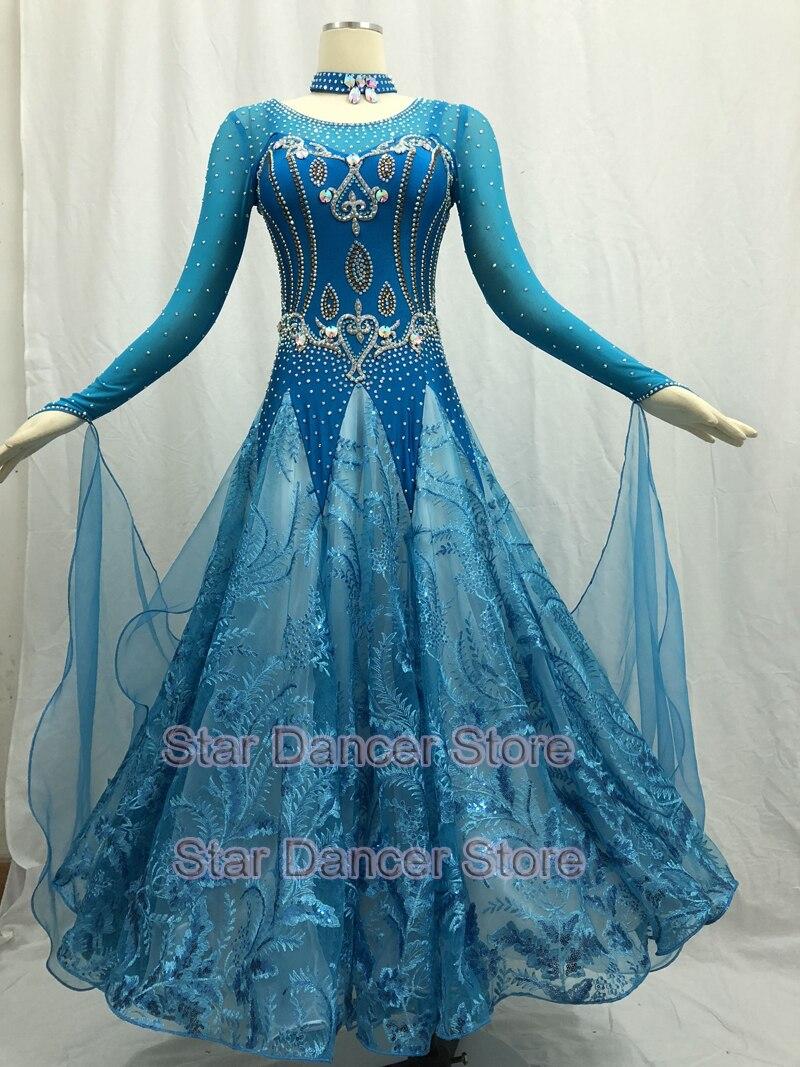Ballroom Competition Dance Dresses Women High Quality Standard Ballroom Skirt Adult Long Sleeve Waltz Ballroom Dancing Dress
