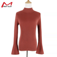 Women Sweater High Elastic Solid Turtleneck Fall Winter Fashion Sweater Grils Flare Sleeve Slim Sexy Knitted