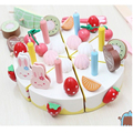 Rabbit Birthday Cake DIY Children Kids Early Educational Classic Toy Pretend Play Kitchen Food Wooden Toy