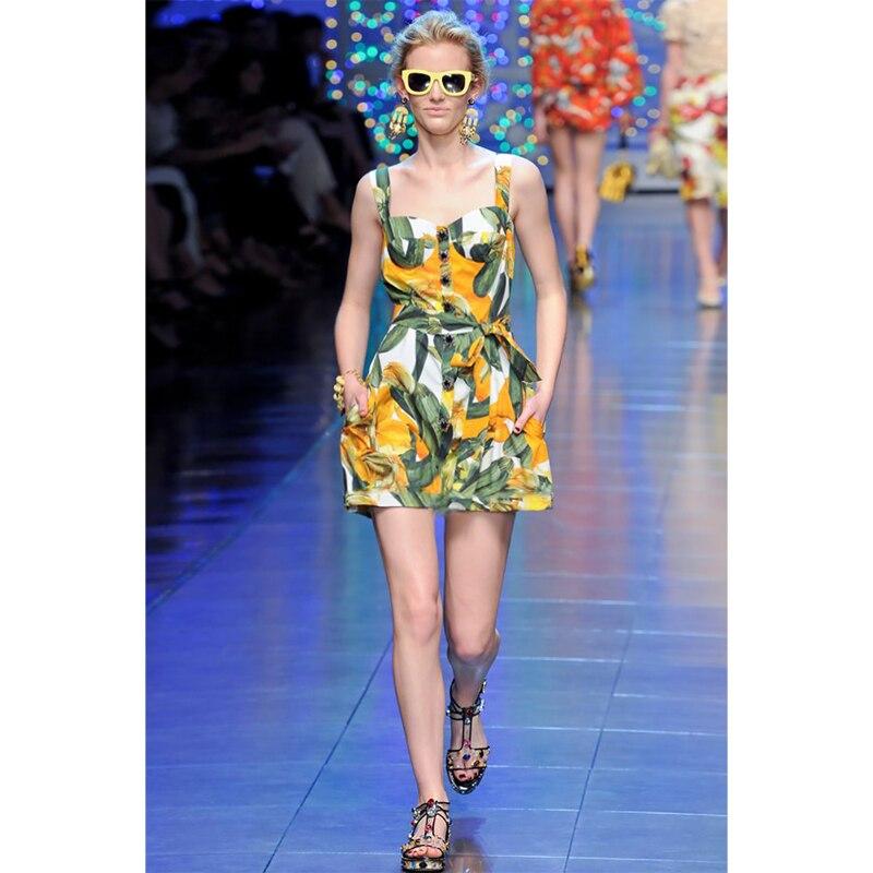 Runway Designer Luxury Brand Woman Dress Print Sleeveless Diamond Button Spaghetti Strap Mini Dress Casual Holiday