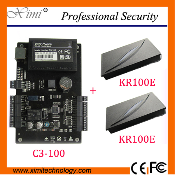 ZK C3-100 One-door Two-Way Access Controller Panel+2 PCS KR100E ID Reader Access Control systems door access control systems zk access control board c3 100 one door two way access control panel 1 pcs kr100e rfid reader
