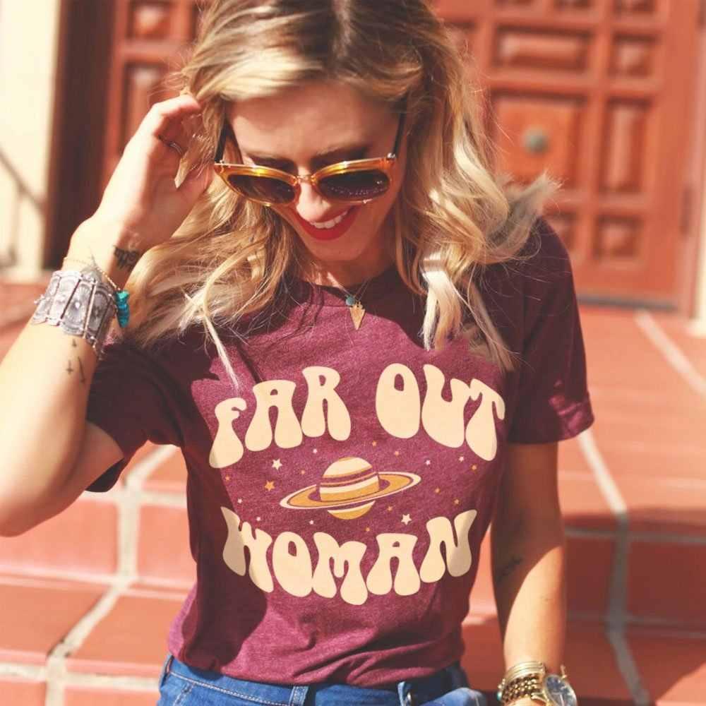 0ef039bfa New Fashion Far Out Woman Tshirts 2018 Girls Graphic Tees 60s 70s Vintage  Style Tops Retro
