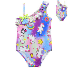 2019 new girls one-piece swimsuit cute unicorn child shoulder swimsuit