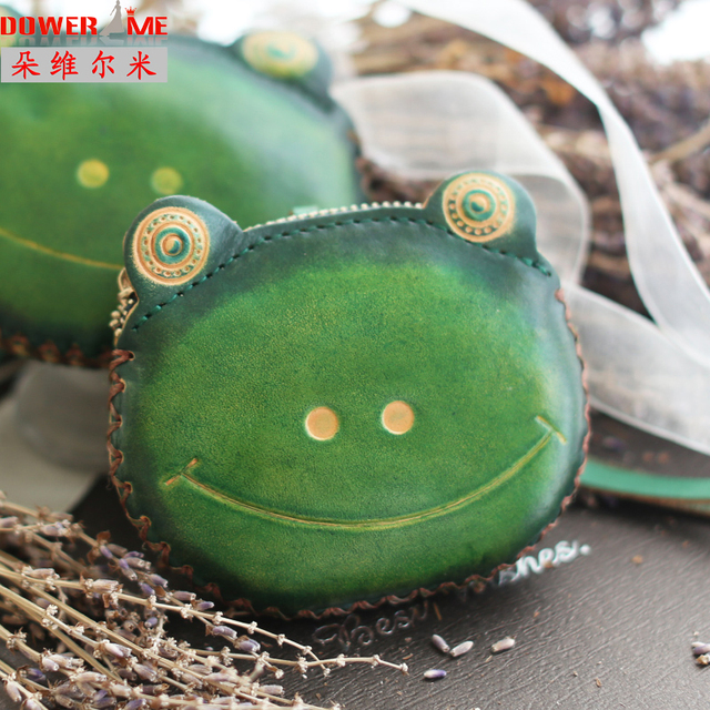 Dower me Fall new handmade leather wallet woman zipper small wallet cute frog leather short purse