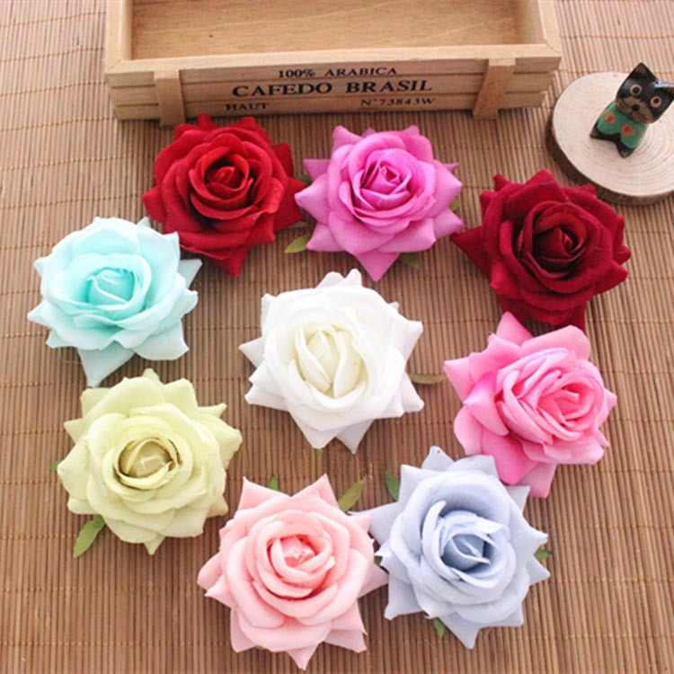 8cm large artificial flowers edge roses silk rose heads for Flower heads for crafts