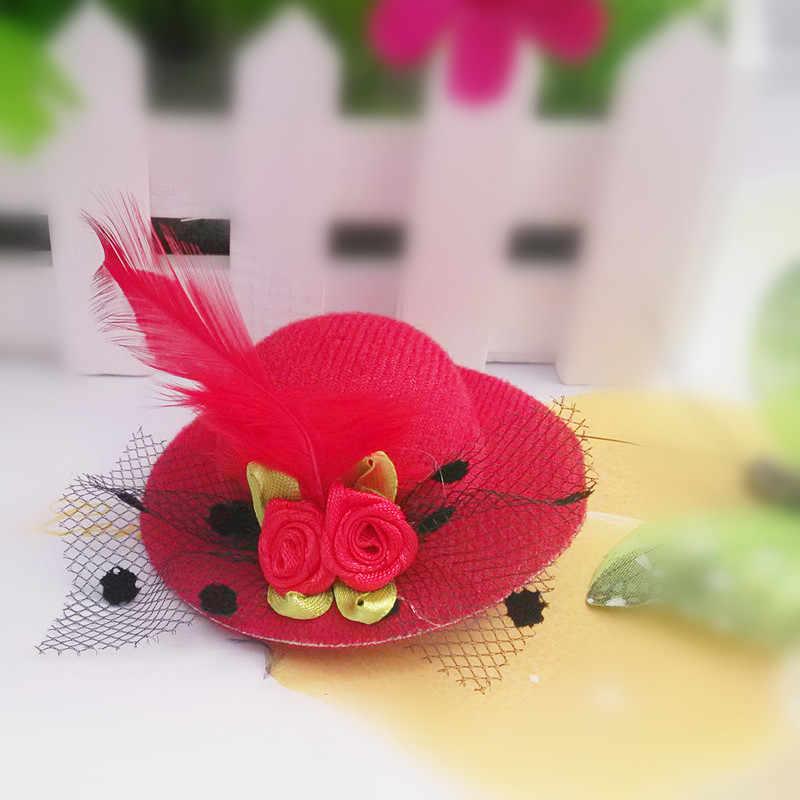 M mism 새로운 귀여운 모자 모양의 꽃 장식 소녀 깃털 모자 헤어 클립 어린이 헤어 액세서리 패션 헤어핀