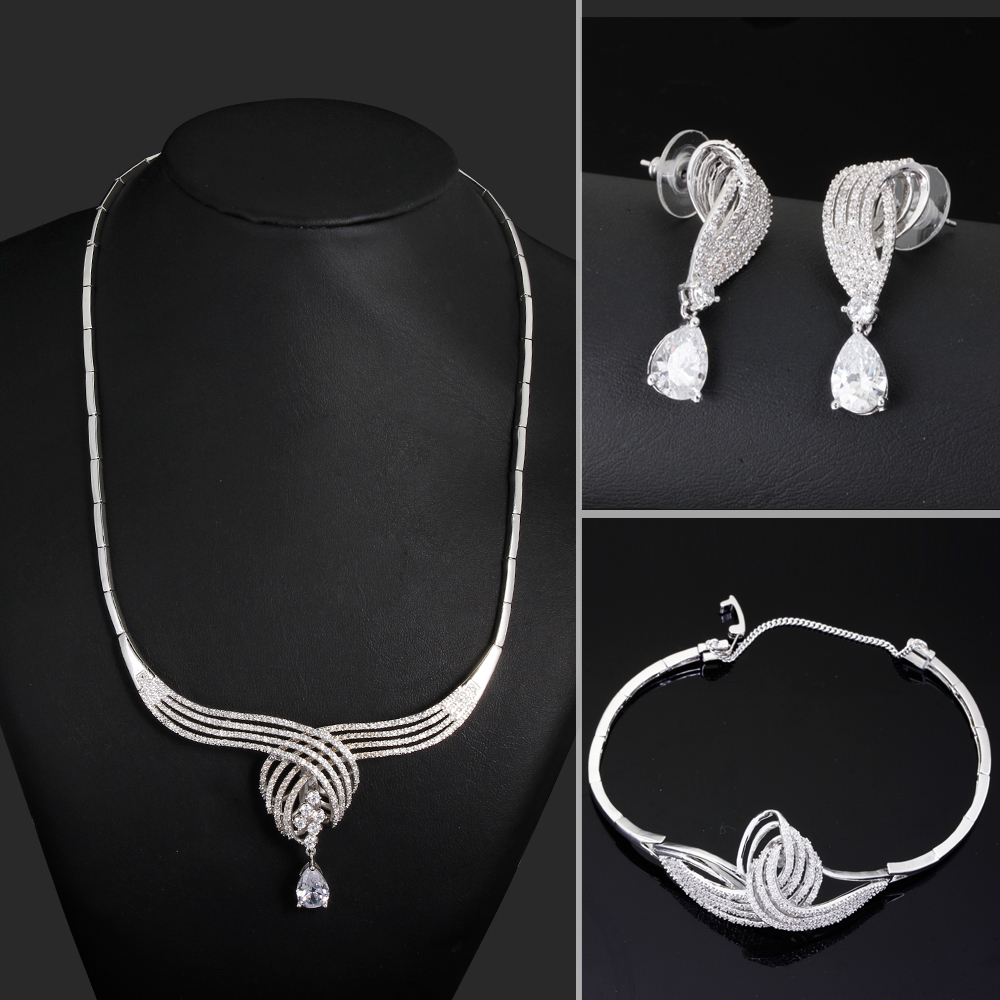 White gold wedding Fine jewelry set earring bracelet necklace Jewelry Big sets of jewelry CZ necklace