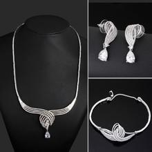 Oro blanco conjunto pendiente de la pulsera del collar de La Joyería de la boda joyería Fina Grande juegos de joyería CZ collar de las mujeres conjuntos de collar