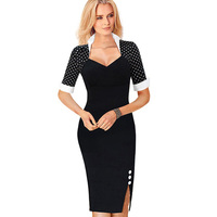 2016 Women Elegant Polka Dot V Neck Buttons Stand Collar Sheath Dress Split Office Business Wear