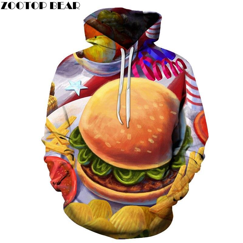 Painting Burger Series Men Hoodies Food Sweatshirts 3D Sleeves HOT Anime Brand Fashion Streetwears Casual Pullovers ZOOTOP BEAR