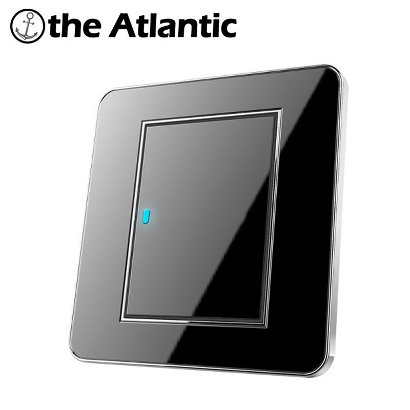 Atlantic Brand New Arrival 1 Gang 2 Way Free Click Push Button Wall Light Switch With LED Indicator Acrylic Crystal Panel button wall light switch 2 gang double control swich acrylic luxury crystal 86 panel led indicator light wall button switch