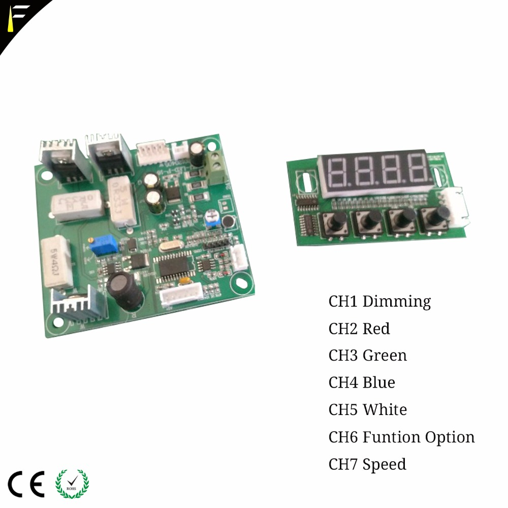 4in1 RGBW 7Channels <font><b>LED</b></font> <font><b>PAR</b></font> Can Main board <font><b>Parts</b></font> CH1 Dimming CH2 Red CH3 Green CH4 Blue CH5 White CH6 FuntionOptional CH7 Speed image