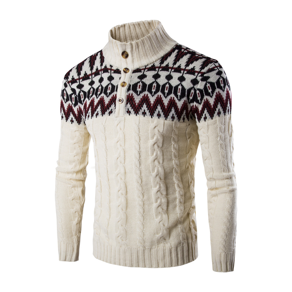 New Fashion Brand Casual Long Sleeved Sweater Stand Collar Pullovers Slim Men 'S Ethnic Style Pattern Sweaters