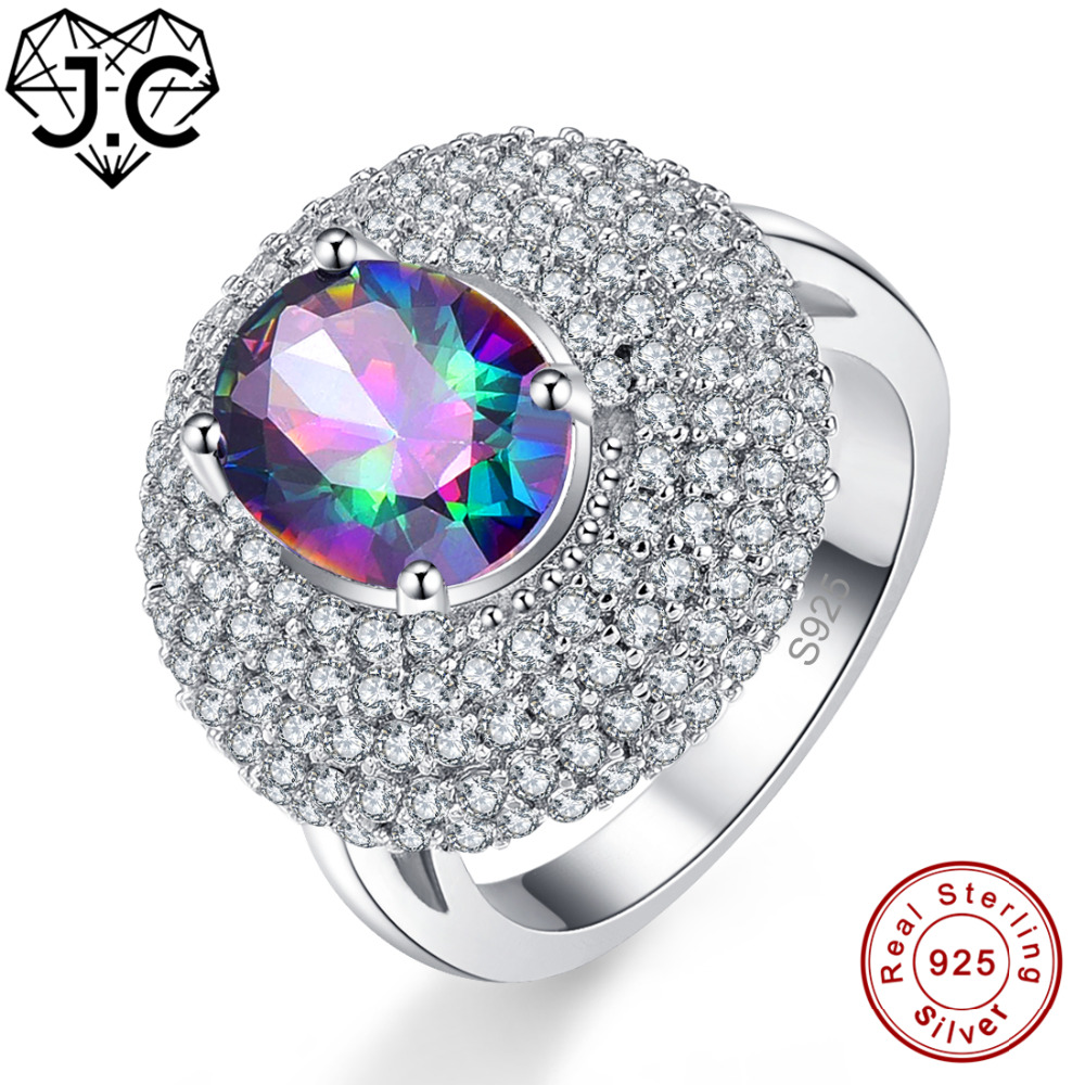 Learned J.c Fine Jewelry 0.7ct Charm Ruby & Sapphire & White Topaz Solid 925 Sterling Silver Ring Size 6 7 8 9 For Women Men Best Gift Jewelry & Accessories Fine Jewelry