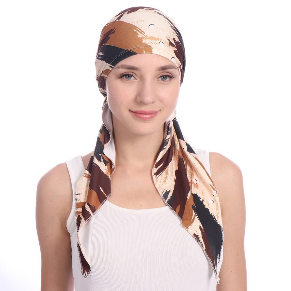 Beanie   Women Hat Elegant Headscarf Cap Chemotherapy Multi Color Print Casual Women Cap bonnet femme