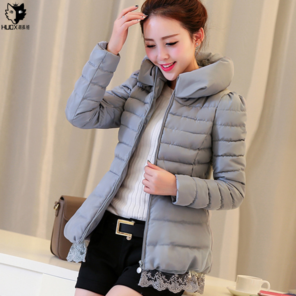 HUOX Lace Patchwork Stand Collar Women Overcoat 2016 Autumn Winter Warm Cotton Padded Jacket Female Lovely Slim Parkas