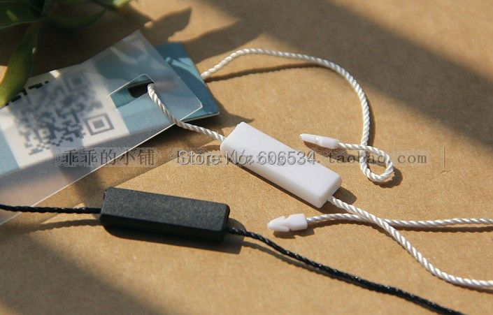 High Quality Hang Tag PP String In Apparel, Strings Cord For Garment Hangtag Seal Tag With Square 2.3*0.7cm Heads 1000pcs