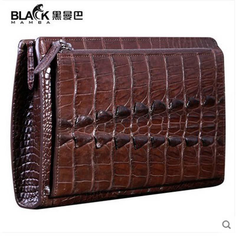 heimanba  double zippers new men clutch bag man bag men hand bag crocodile skin days clutches  thai crocodile leather Luxury