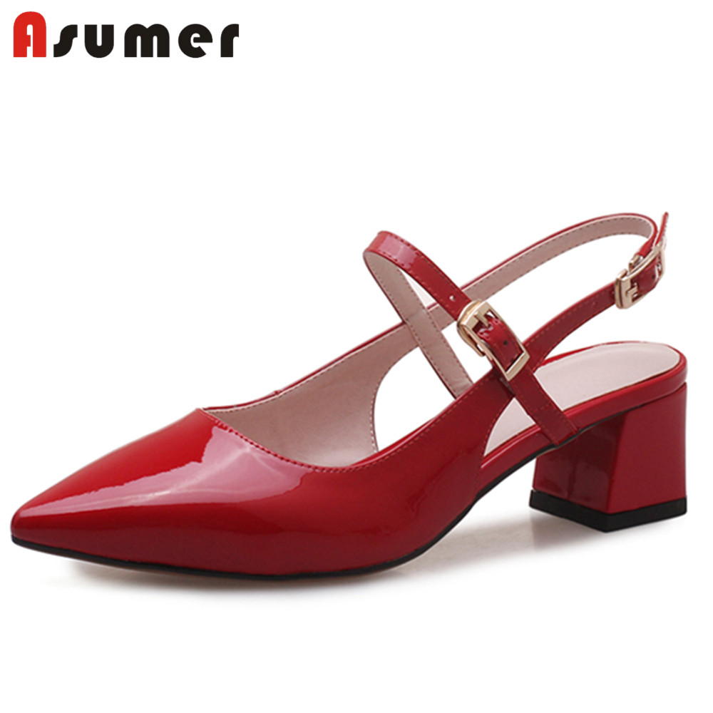 ASUMER Comfortable Sandals Square Heel Shoes Woman Pointed-Toe Sexy Genuine-Leather Women