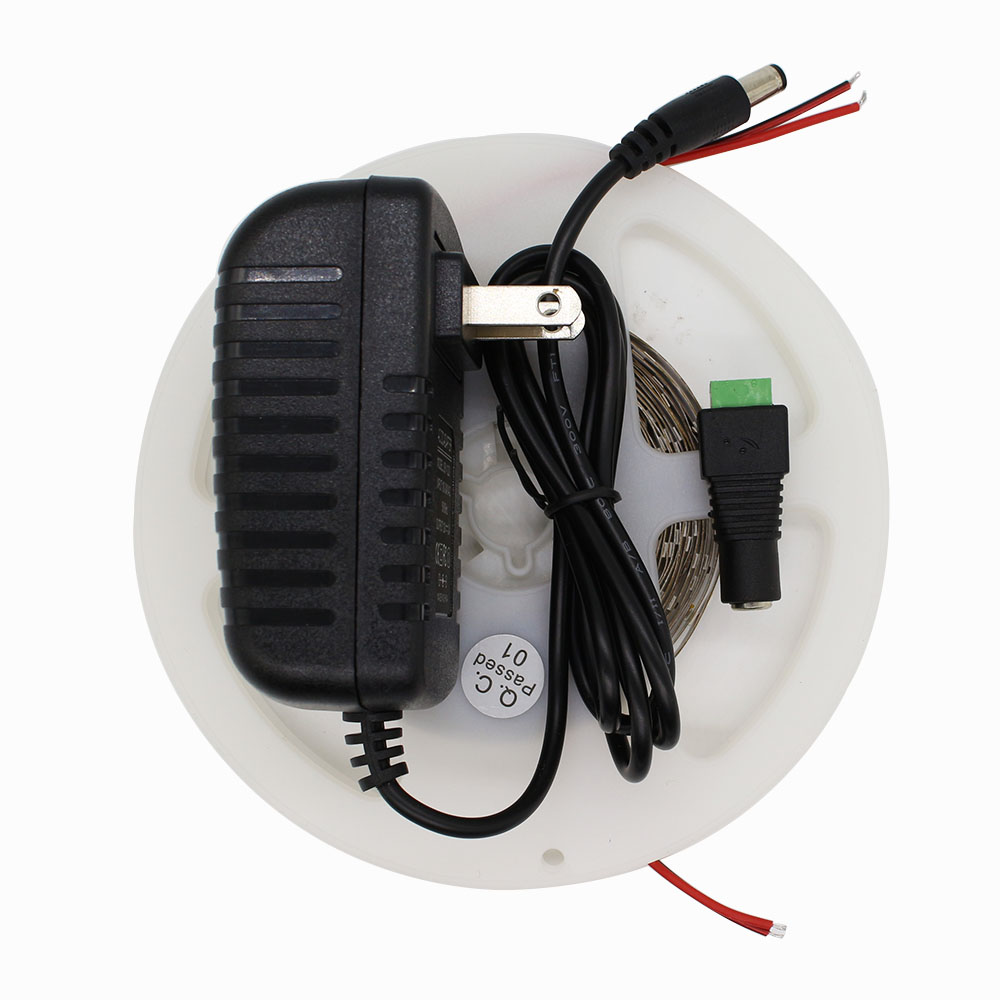 3528 DC12V 60Leds/M 5M 300Leds Non-waterproof pink Led Strip Light Fiexble Light Led Ribbon Tape + 2A Power Supply Adapter