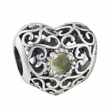 786709bf9 Xmas Gift 925 Sterling Silver Openwork November Signature Yellow Crystal Heart  Birthstone Charm Beads Fit Pandora Bracelets