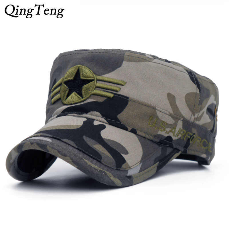 2018 Army camouflage Flat Top Mens Caps Hat Adjustable Star embroidery  Cotton Cap Baseball Casual Military d5ab8adfd55f