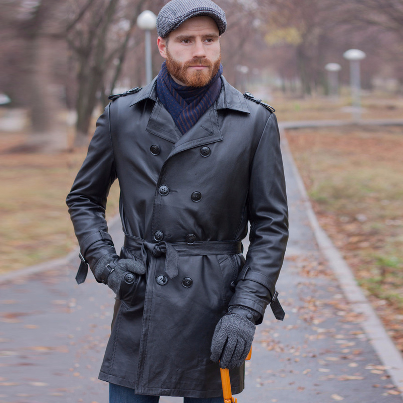 Véritable Cuir Trench x-long Hommes Marque De Luxe Style Classique Hommes En Cuir Véritable Manteaux Et Vestes Coupe-Vent Manteaux