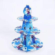 1pcs/set DISNEY Frozen Anna And Elsa Shower Cartoon Kids Birthday Party Decoration Supplies Cardboard Cupcake Stand 24 Cupcakes