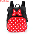 PLEEGA Baby Girls Backpack Lovely Cartoon Backpack Leather Kindergarten School Bags Mickey Anime Backpacks 2-6 Children Book Bag