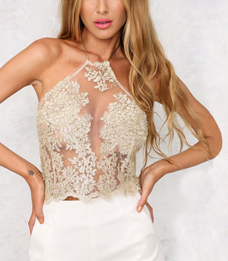 3f38b14735e0c5 Elegant women lace crop top 2016 summer party black white backless short halter  tops High neck gold girls cami tank top
