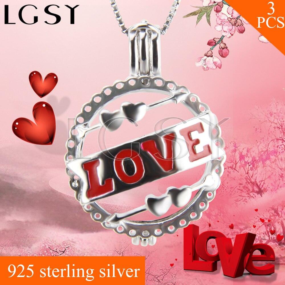 Best подарок на день Святого Валентина 925 стерлингового серебра любовь мяч клетке Подвески Цепочки и Ожерелья Жемчуг Талисманы 3 шт.