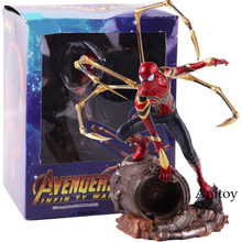 Ferro Studi Marvel Avengers Ferro Spiderman 1/10 Bilancia PVC Statue Figura Spider Man Action Figure Da Collezione Model Toy(China)
