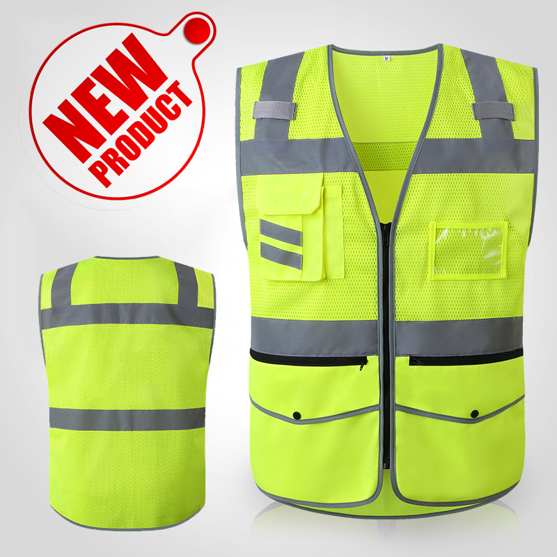 New Hi vis vest zipper front reflective safety clothes workwear with reflective tape jiade two tone hi vis safety vest reflective