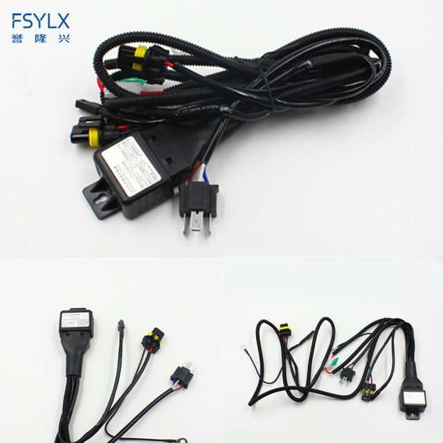US $8.41 15% OFF|FSYLX 12V 35W 55W 75W HID Bi xenon H4 Wire Harness on