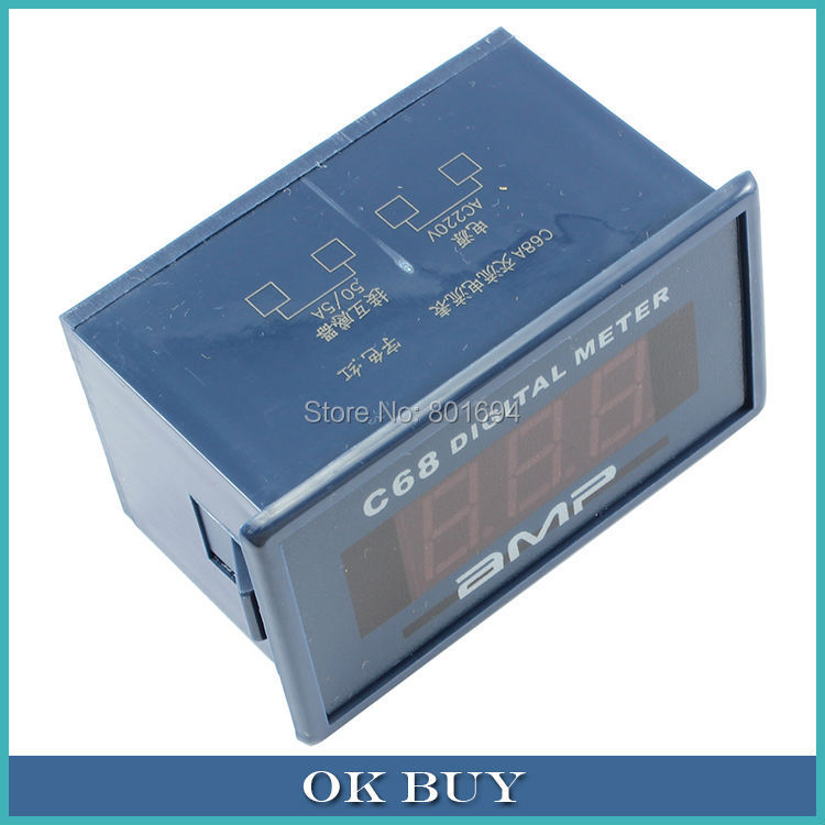 C68A 0.56 3Bit 0-50A AC Digital Ammeter 220V Alternating Current Measurement Meter Compatible 85L17 Pointer Table ...