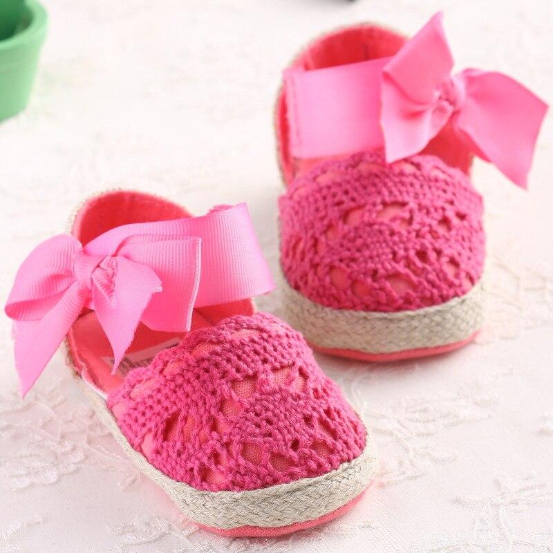 WONBO Baby Girl Newborn Shoes Spring Summer Sweet Very Light Mary Jane Big Bow Knitted Dance Ballerina Dress Pram Crib Shoe