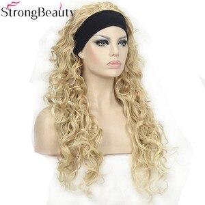 Image 2 - StrongBeauty 26 אינץ סינטטי חצי פאה ארוך מתולתל שיער פאות עם סרטי ראש טבעי לחתוך שיער סגנון לנשים