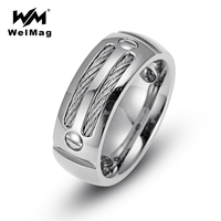 WelMag Men Ring Silver Stainless Steel Punk Rock Hematite Health Ring With Wire Cubic Zirconia Wedding