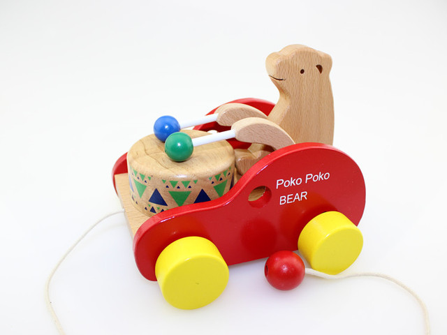 Free shipping, wooden educational toys, drag the toy car, bear drums, toddler animal cart, children's toys
