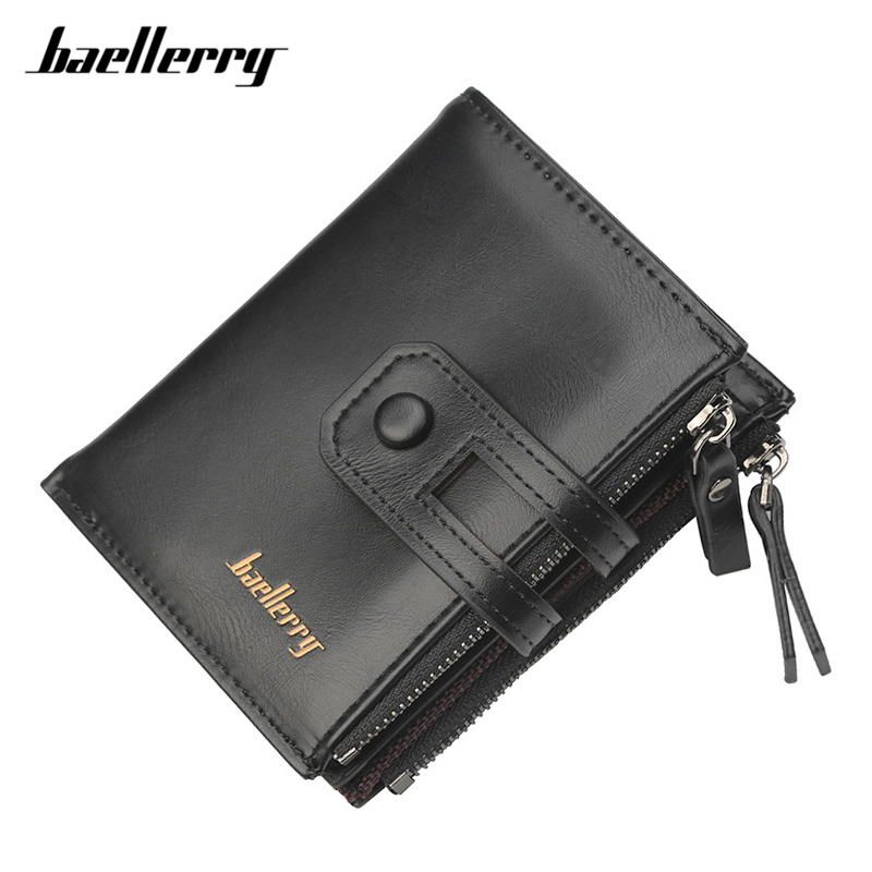 Baellerry Famous Brand Designer Male Wallet Black PU Leather Card Wallet Men Small Size Large Capacity Double Zipper Coin Puses vicuna polo italy famous brand men wallet high quality pu leather trifold wallet large capacity short metal wallet for man