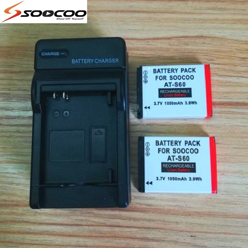 For Original SOOCOO S80/S70/S60/S60B Action Camera Accessories 1050mAh Battery with Charger For s70 s60 S80 Sports camera