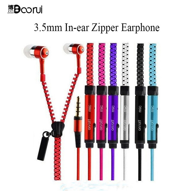 In-Ear Stereo Earbuds with Mic  For Iphone/Samsung Galaxy  phones PE Package Big Discount BOORUI Colorful Zipper Earphones 3.5mm